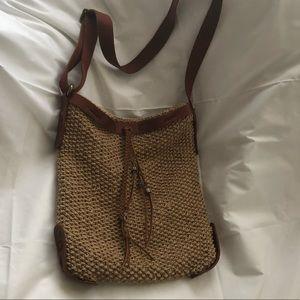 Lucky Brand Crossbody knit bag leather trim
